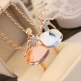 Wholesale Crystal Ballerina Necklace - Wholesale- Gold Plated Silver Chain Shiny Crystal Ballerina Girl Pendant Necklace Statement Long Necklace Jewelry Female Long Necklace