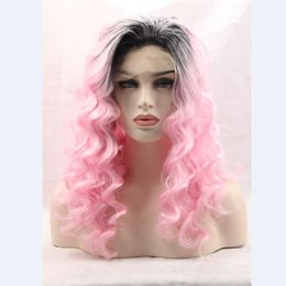 "Wholesale Pics Natural - Synthetic wigs for black women free part off black 1b# ombre pink short dark roots 22""Pic natural cheap hair wig fast shipping"