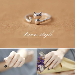 Wholesale Simple Rings For Girls - Hot selling Korea simple cute cat rings 925 sterling silver ring for women girl child gifts opening jewelry wholesale