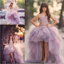 Wholesale Kids Lavender Flower Girl Dresses - 2017 Lavender High Low Girls Pageant Gowns Lace Applique Sleeveless Flower Girl Dresses For Wedding Purple Tulle Puffy Kids Communion Dress