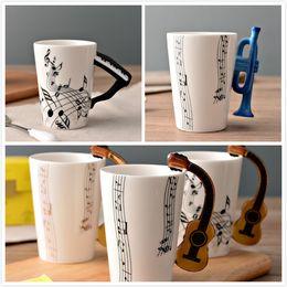 Wholesale Printed Coffee Cups - Guitar Ceramic Cup Creative Music note Print Flute Piano Coffee Mugs Home Office Drinkware 14 Types 300ml Personality Milk Juice Mug