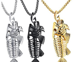 Wholesale Necklace Surfer - Fish Bone Fish Skeleton Stainless Steel Pendant Surfer Chain Necklace Gold Black Silver Unisex Jewellery