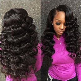 Wholesale Mongolian Loose Curly Bundle - Peruvian Loose Wave With Closure Bundles With Closure 9A Peruvian Human Hair Natural Black Loose Curly With Free Middle 3 Part Closure