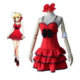 Wholesale Sexy Lolita Cosplay - Fate stay Night Anime Fate Zero Saber Cosplay Arturia Pendragon Sexy Red Dress Costume Bride Party Lolita Dress