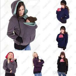 Wholesale Maternity Winter Fleece - Baby Carrier Kangaroo Coats Pullover Winter Hoodies Fleece Babywearing Kangaroo Maternity Outerwear Jacket Sweatshirts Free shipping