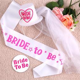 Wholesale Mini Top Hat Party Decorations - Wedding Decoration Bride To Be Set:Hat With Bridal Veil & Sash&Brooch Match Women Dress Fit Bachelorette Party plain mini top hat hairwear