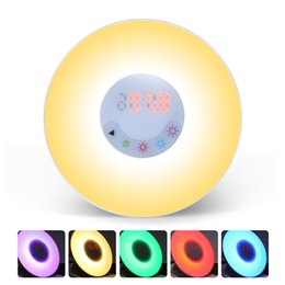 Wholesale Wake Up Alarm Clock - New Sunrise Simulation Alarm Clock Wake up Light with FM Radio Smart Fitness HealthCare Touch Control Night Lamp For Creative Christmas Gift