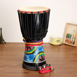 Wholesale African Mahogany - Wholesale-8 Inch Mahogany African Hand Drum Djembe Painted Jambe Drummer