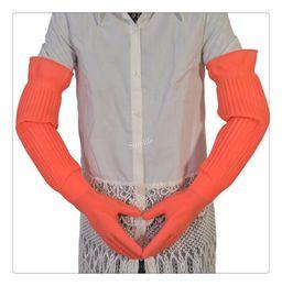 Wholesale Long Waterproof Gloves - 56cm Lengthen ultra long waterproof rubber gloves bowl dish latex gloves Rubber gloves