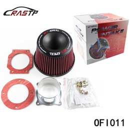 Wholesale Apexi Intake - RASTP - Free Shipping Apexi Universal Car Vehicle Intake Air Filter 75mm Dual Funnel Adapter Air Cleaner Protect Your Piston RS-OFI011
