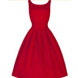 Wholesale Mini Women Retro Dresses - Summer Style Vintage Vestido Sleeveless O-neck Women Dresses Retro Rockabilly Audrey Hepburn Big Hem Rockabilly Dress Plus Size