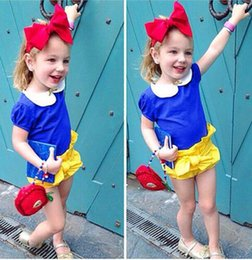 Wholesale Snow White Shirts - Snow white costumes girl outfit T-shirt+shorts+headband fairy princess dress cute casual suit girls Halloween performance cosplay kid clothe