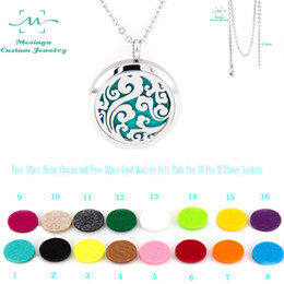 Wholesale Wholesale Perfume Oil China - With Chain!10pcs mesinya ocean swirl (30mm) Aromatherapy Essential Oil surgical Stainless Steel Perfume Diffuser Locket Necklace