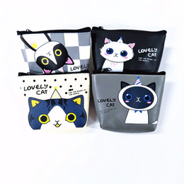 Wholesale Little Girls Cute Bags - Wholesale- M075 Cute Cartoon Cat Animal Paradise Jelly Glue Little Devil Pu Coin Purse Wallet Card Bag Girl Women Student Gift Wholesale