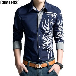Wholesale Mens Dragon Dress Shirts - Wholesale- Shirt Men 2017 New High Quality Dragon Printing Shirts Slim Fit Male Mens Dress Shirts Long Sleeve Casual Shirt Mens Clothing