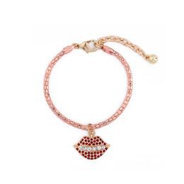 Wholesale Rhinestone Lips Charms - Rose Gold Color Chain Rhinestone Lip Bracelet Cute Fashion Women Charm Bracelet Jewelry Accessories