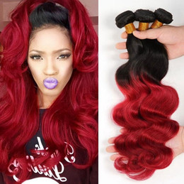 Wholesale Hair Extensions Red Colors - 100% Unprocessed ombre red Brazilian Human Hair Extensions 8-30 inch body Wave Human Hair Weaves 3pcs Lot Free Shipping