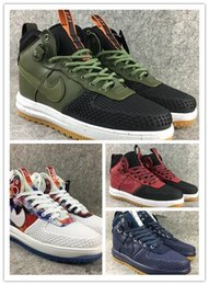 Wholesale A1 Rubber - 2017 New Real leather Lunar air 1 Duckboot Men's Sneaker High cut Skateboard shoes Walking Outdoor Sports Shoes Jogging A1 Shoes