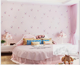 Wholesale Paper Wallpaper Baby - Hello Kitty Style Cartoon Wallpaper non-woven eco-friendly Tactic child romantic baby room wall paper for girls children