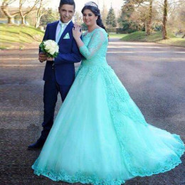 Wholesale Mint Color Long Sleeve Dresses - Gorgeous Mint Green Turquoise Plus Size Wedding Dresses Sleeves Beaded Lace Appliques Tulle A Line Bridal Gowns Arabic Wedding Dress
