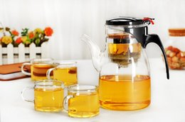 Wholesale Heat Tea Pot Set - 5pcs set New 600ml Simple Tea Kettle Tea Pot Heat Resistant Glass Teapot with 4pcs 100ml cup Convenient Office Tea Pot Set J1053
