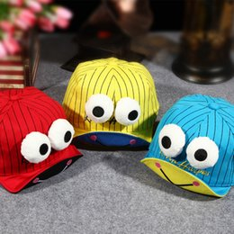 Wholesale Children Cap Hat Frog - 2017 New Cartoon Frog Baby Girls Boys Baseball Caps With Big Eyes Kids Balaclava Snapback Fitted Hat Sun Hats For 3-24 Months