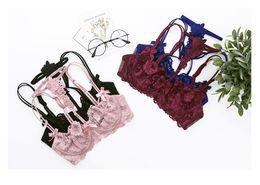 Wholesale Pink Floral Lace Trim - Women Lace Sexy Lace-trim Cutout Push Up Half Cup Bra Lounge Bra and Panties Embroidery Bra Set A B C D Cup