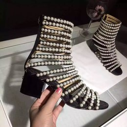 Wholesale Leather Sandals Pearls - Pearl Covered Flats Women Luxury Brand Sandals Boots Suede Summer Zip Women Ankle Boots Women Fashion Dress Shoes