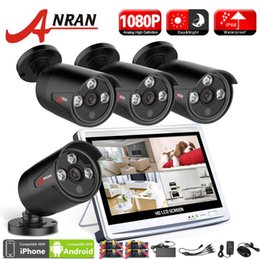 Wholesale 4ch Lcd Dvr - New ANRAN Surveillance 4CH 1080P 3 Array IR Day Night Waterproof Outdoor Camera HDMI Kit 12 Inch LCD Screen AHD DVR CCTV Security System