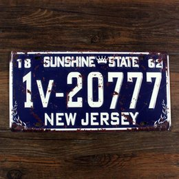 "Wholesale Vintage Sign Numbers - Wholesale- RONE0171 Car License Plates number "" NEW JERSEY 1V-20777 "" vintage Vintage Metal tin signs Wall art craft painting 15x30cm"