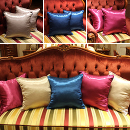 Wholesale Ice Car Cover - Newest Silk Pillow Case Cover Glamour Square Home Sofa Car Decor Ice silk PillowCovers 3 Color 45*45cm WX-P16