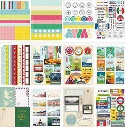 Wholesale Paper Sticker Album - Wholesale- 12sheets LOT DIY Scrapbooking Vintage Travel Paper Stickers Diary Photo Album Wedding Decoration Label DIY Kawaii Stationery