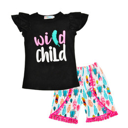 Wholesale Feathered Kids Clothes - Wholesale Girl Clothing Sets Fashion Letter Feather Children Tshirt+Tassel Pant 2pcs Kids Clothes 2017 Summer Wild Child Baby Clothing Set