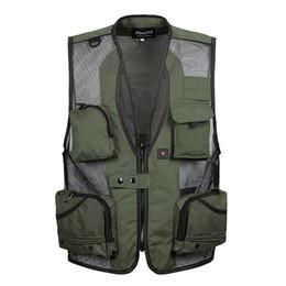 Wholesale Men Travel Vest - Wholesale- Summer Men Black Mesh Travel Vest With Pockets Sleeveless Photographer Clothes Male Vest