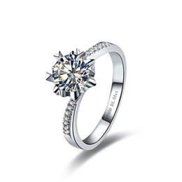 Wholesale Round Cut Diamond Engagement Rings - Snowflake 0.5Ct Round Cut Synthetic Diamond Ring Engagement for Women 925 Sterling Silver Jewelry White Gold Plated