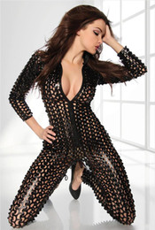2021 costume jumpsuit d'argento Sexy Fetish Metallic 3D Intricato Crafted PUNK Catsuit Costume Sets Body tuta Clubwear Nero / Oro / Argento 3 Colori Tute tute