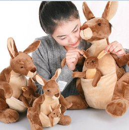 Wholesale Kangaroo Plush - Wholesale- candice guo! New arrival plush toy brown Kangaroo Mother & son soft stuffed doll Parent child birthday gift 1pc