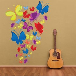 Pared de papel tapiz mariposa online-Mariposa Pegatinas de Pared Art Decal Removeable Wallpaper Mural Sticker para Niños Habitación Dormitorio Sala de estar Adhesivo Decorativo