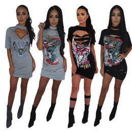 Wholesale Wholesale Cheap T Shirt Dresses - Sexy Halter T Shirts Dresses for Women Cut Out Ripped Bodycon Mini Dress Doodle Printed   4 Style S-XL   Wholesale Cheap DHL Fast Shipping