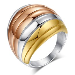 Wholesale Glamorous Days - Meaeguet Glamorous Dome Statement Ring for Women 3 Tone Stainless Steel Fashion Jewelry Party Cocktail JewelleryHigh Quality RC-082