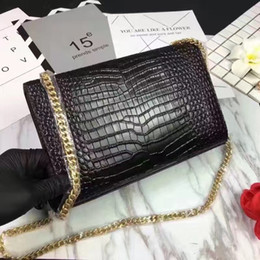 Wholesale Genuine Alligator - very fashion alligator genuine leather good quality luxury brand shoulder bag with gold chain for women with box on sale free shipping