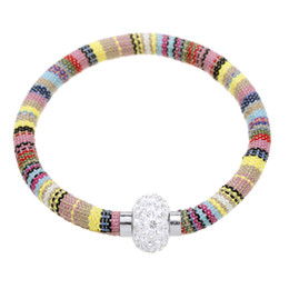 Wholesale Wristbands String - New bracelets for women cotton string National style wristband CZ Disco Crystal Magnetic Clasp Imitation Rhodium Plated