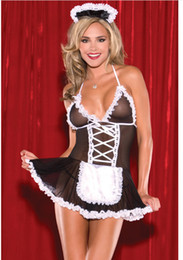 Wholesale Women Sex Costumes - Sexy Costumes Lace sexy lingerie hot erotic Cosplay French Maid Uniform Deep V neck lingerie Dress Babydoll Lenceria Sex Costume Underwear