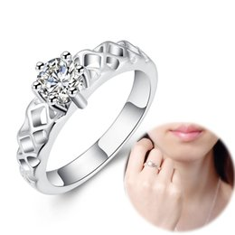 Wholesale Trendy Gemstone Silver Set - Crown Ring Inlaid Gemstone Hollow Ring Fashion Crystal Jewelry 925 Silver Plated Brand Trendy Accessories Women Party Jewelry Christmas Gift