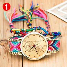 Wholesale Wool Fabric Wholesalers - Luxury Watches Geneva Ladies Women Handmade Braided Quartz Watch Wool Weave Casual Dress Bracelets Wristwatches 10 Colors
