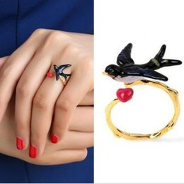 Wholesale Les Nereides - Wholesale- 2017 Famous brand ring, Les Adjustable copper swallow ring for women, Nereides enamel curious swallow ring women gift