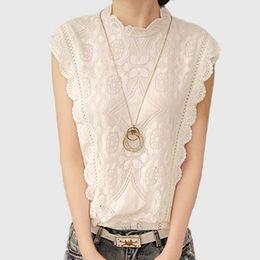 d56a8a153f0 2016 White Lace Top Sleeveless Shirt Women Summer Vintage Blusa Feminino  Crochet Casual Loose Plus Size Women Tops Blouses A351