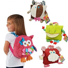 Wholesale Boys Plush Toys - Wholesale-3D Cute Plush Animal Backpack Toys Cartoon Backpack PP Cotton Baby Kid Children Kindergarten Boy Girl Student Backpack Bags