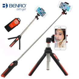 Wholesale Benro Tripods - BENRO Handheld Tripod 3 in 1 Self-portrait Monopod Extendable Phone Selfie Stick with Built-in Bluetooth Remote Shutter - Blue