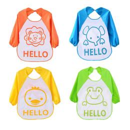 Wholesale Cute Smocks - Wholesale- 2017 Cute Cartoon animals Baby Bibs Long Sleeve Apron Smock Soft Feeding Waterproof Colorful children Bib Burp Clothes